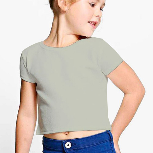 Girls Cropped Half Sleeves Light Grey image