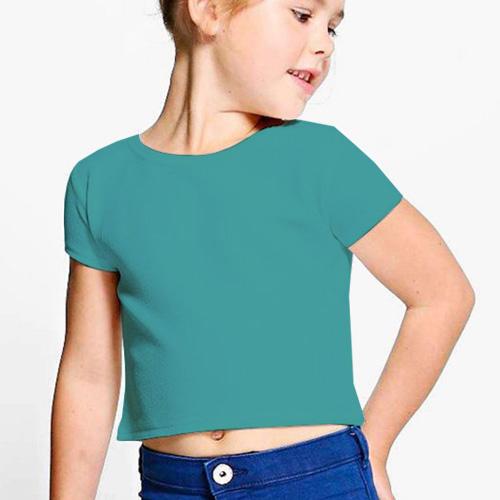 Girls Cropped Half Sleeves Sky Blue image