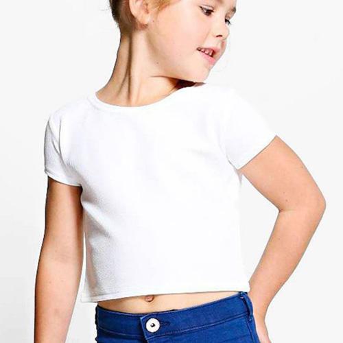 Girls Cropped Half Sleeves White image