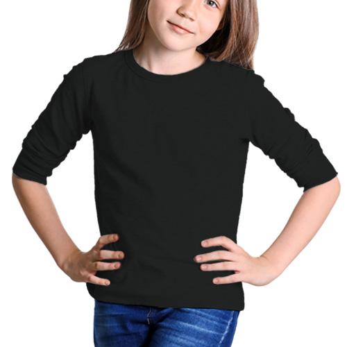 Girls Round Neck Full Sleeves Black image