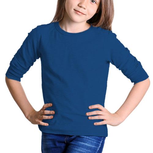 Girls Round Neck Full Sleeves Blue image
