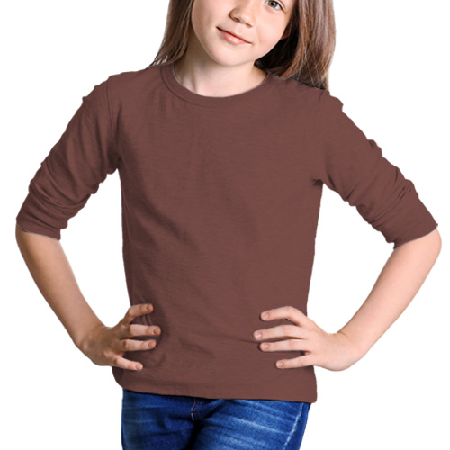 Girls Round Neck Full Sleeves Coffee image