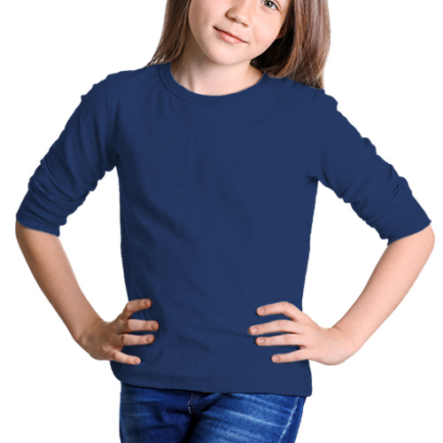Girls Round Neck Full Sleeves Dark Blue image