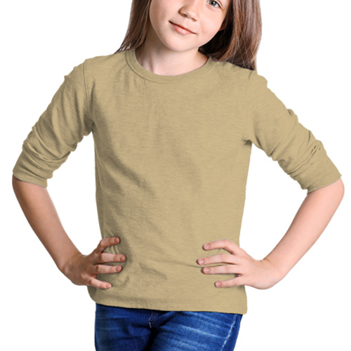 Girls Round Neck Full Sleeves Dark Cream image