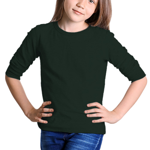 Girls Round Neck Full Sleeves Dark Green image