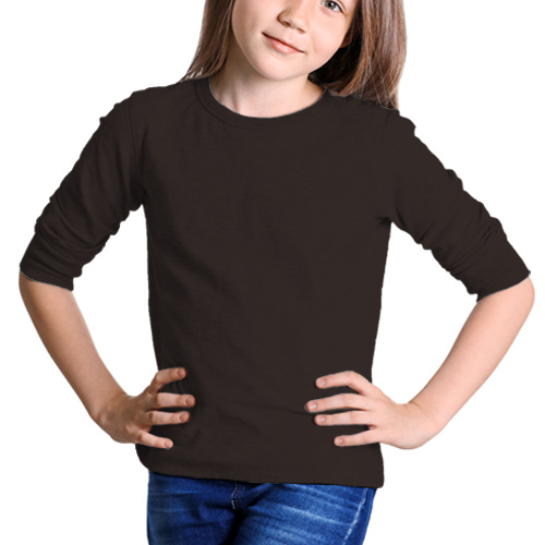 Girls Round Neck Full Sleeves Dark Grey image