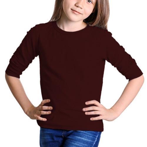 Girls Round Neck Full SleevesDark Maroon Color image
