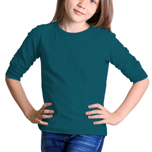 Girls Round Neck Full Sleeves Dark Sky Blue image