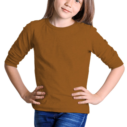 Girls Round Neck Full Sleeves Dark Yellow image