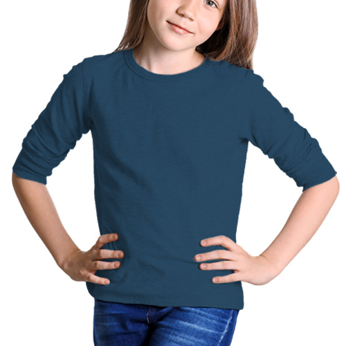 Girls Round Neck Full Sleeves Deep Sky Blue image