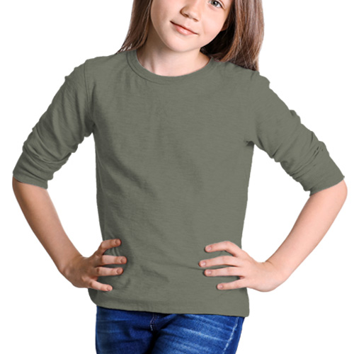 Girls Round Neck Full Sleeves Dove Grey image