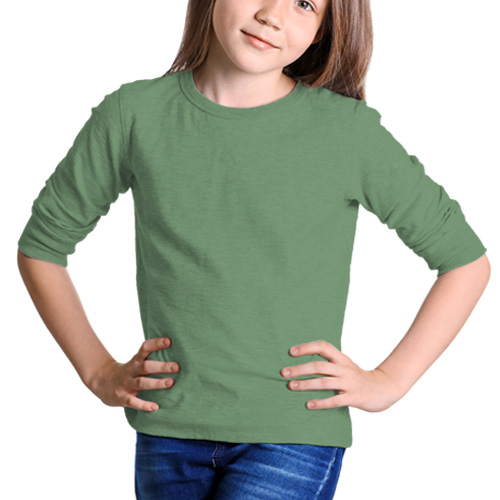 Girls Round Neck Full Sleeves Green Apple image