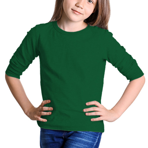 Girls Round Neck Full Sleeves  Green image
