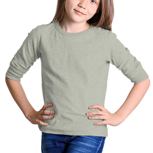 Girls Round Neck Full Sleeves Light Grey image