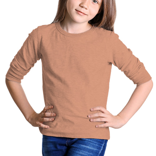 Girls Round Neck Full SleevesLight Saffron image