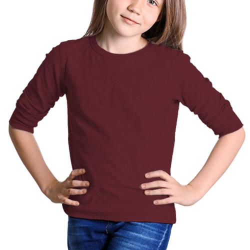 Girls Round Neck Full Sleeves Maroon image