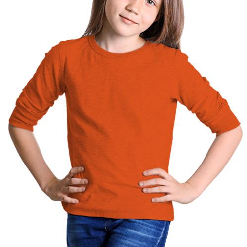 Girls Round Neck Full Sleeves Orange image