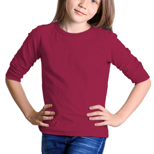 Girls Round Neck Full Sleeves Pink image