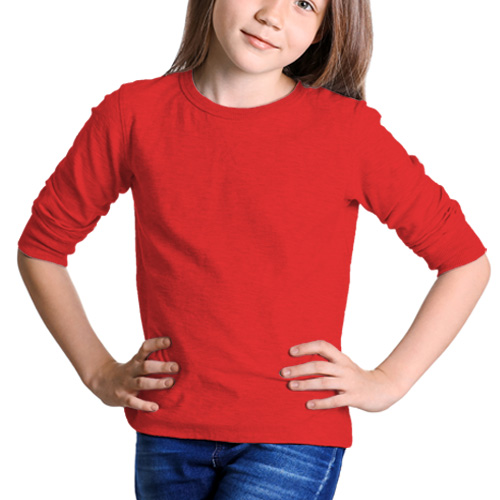 Girls Round Neck Full Sleeves Red image