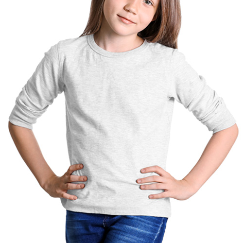 Girls Round Neck Full Sleeves White image