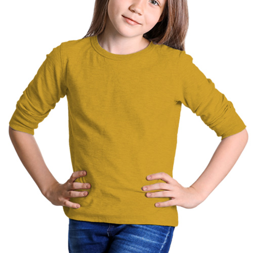 Girls Round Neck Full Sleeves Yellow image