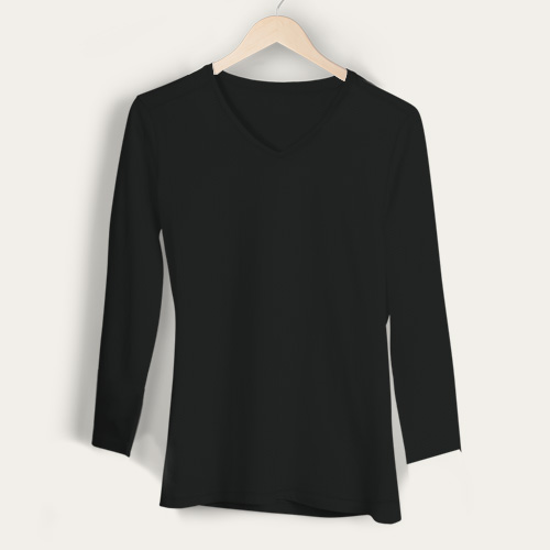 Girls V Neck Full Sleeves Black image