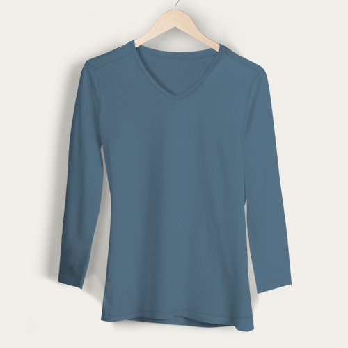 Girls V Neck Full Sleeves Chathams Blue image