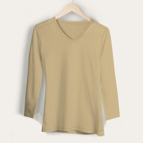 Girls V Neck Full Sleeves Dark Cream image