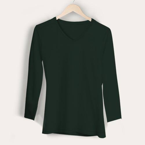 Girls V Neck Full Sleeves Dark Green image