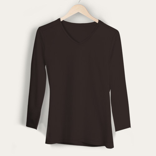 Girls V Neck Full Sleeves Dark Grey image