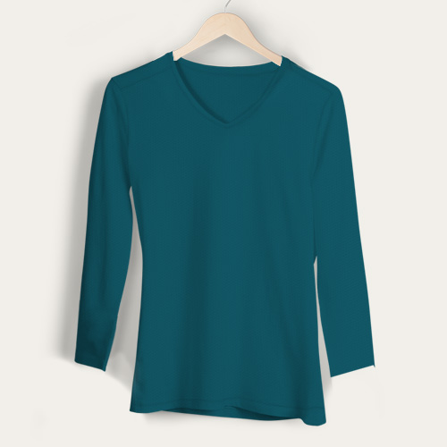 Girls V Neck Full Sleeves Dark Sky Blue image