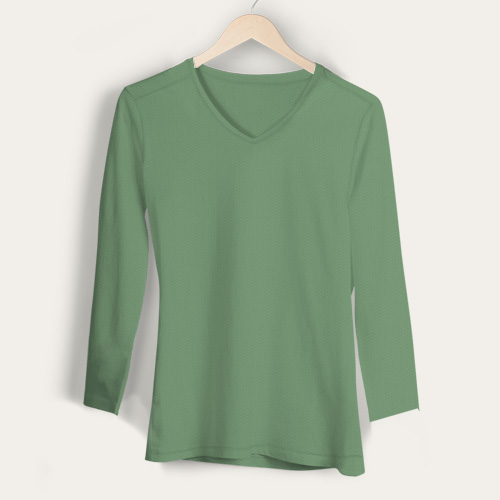 Girls V Neck Full Sleeves Green Apple image