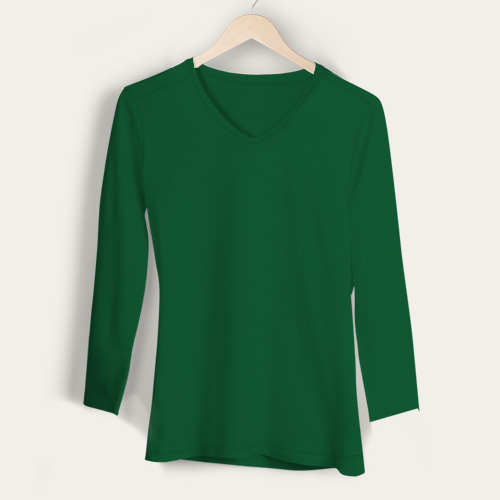 Girls V Neck Full Sleeves  Green image