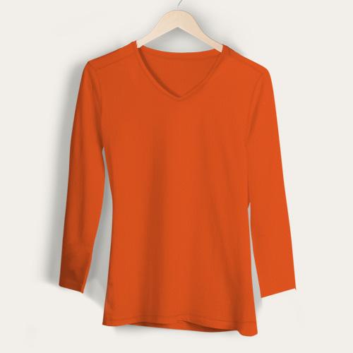 Girls V Neck Full Sleeves Orange image