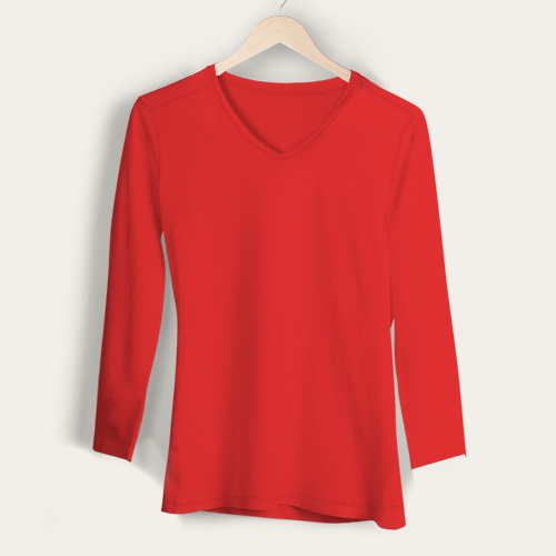 Girls V Neck Full Sleeves Red image
