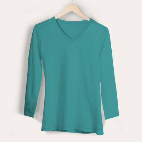 Girls V Neck Full Sleeves Sky Blue image