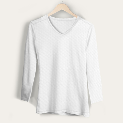 Girls V Neck Full Sleeves White image