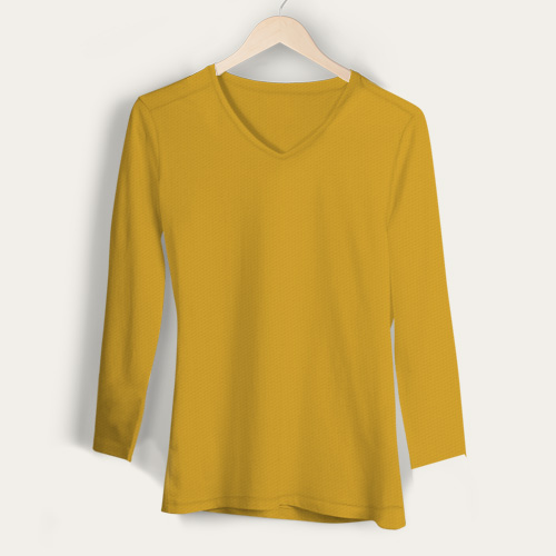 Girls V Neck Full Sleeves Yellow image