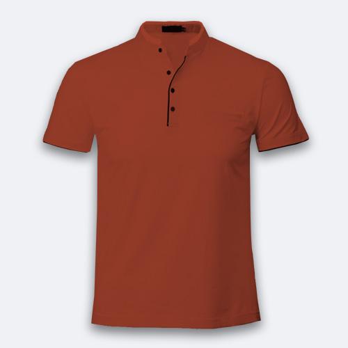 Men Chinese Collar Half Sleeves Brown image