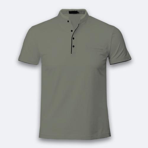 Men Chinese Collar Half Sleeves Dove Grey image