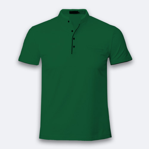 Men Chinese Collar Half Sleeves  Green image