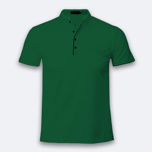 Men Chinese Collar Half Sleeves  Green image