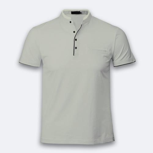Men Chinese Collar Half Sleeves Light Grey image