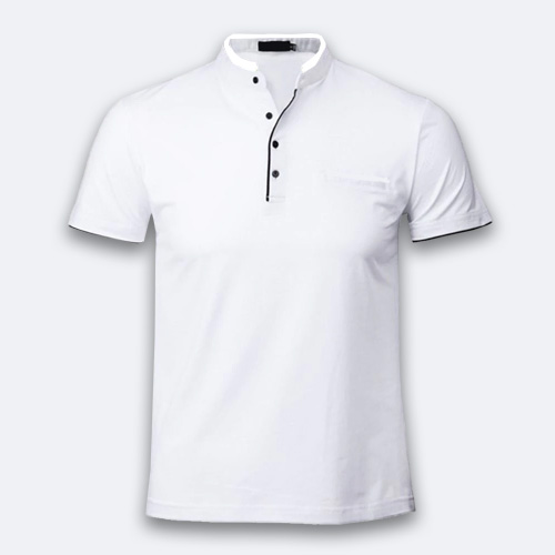 Men Chinese Collar Half Sleeves White image