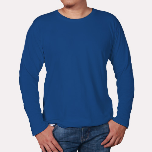 Men Round Neck Full Sleeves Blue image