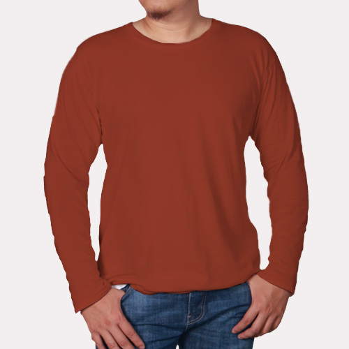 Men Round Neck Full Sleeves Brown image