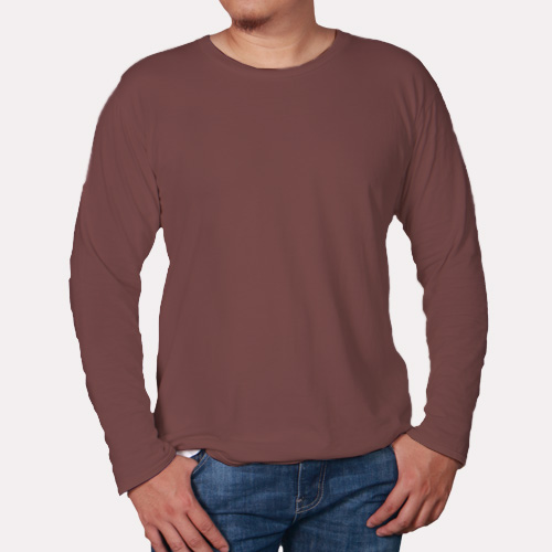 Men Round Neck Full Sleeves Coffee image