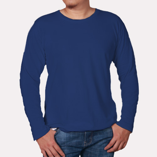 Men Round Neck Full Sleeves Dark Blue image