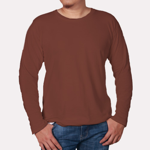 Men Round Neck Full Sleeves Dark Brown image