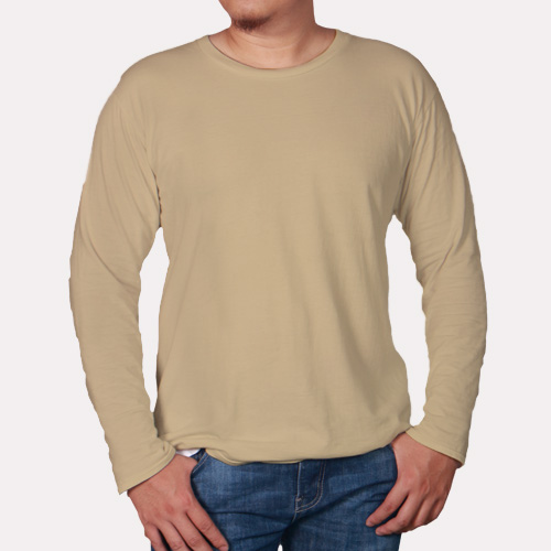 Men Round Neck Full Sleeves Dark Cream image